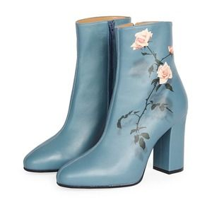 Dries Van Noten Rose leather boots floral blue